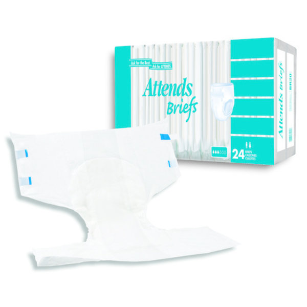 Attends Health Care BR30 Unisex Adult Incontinence Brief Attends® Care Large Disposable Moderate Absorbency, 24/BG, 3BG/Case