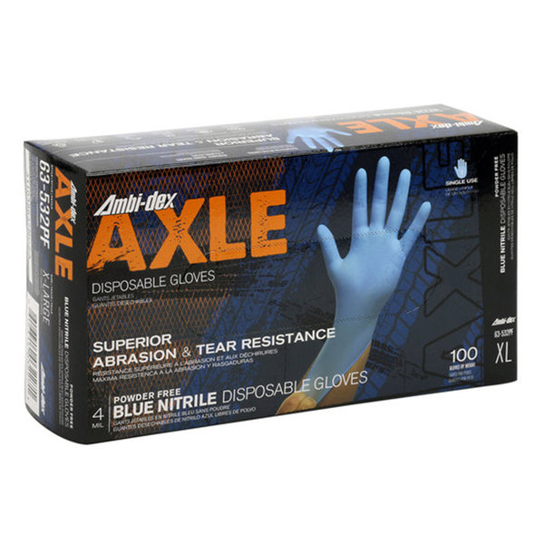 Ambi-dex Ambi-dex Axle 63-532PFM Nitrile Gloves, Powder Free, Blue, 100/Box