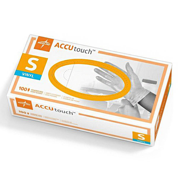 Accutouch Medline MDS192074 Accutouch Vinyl Powder-Free Synthetic Exam Gloves, Small, 100/box