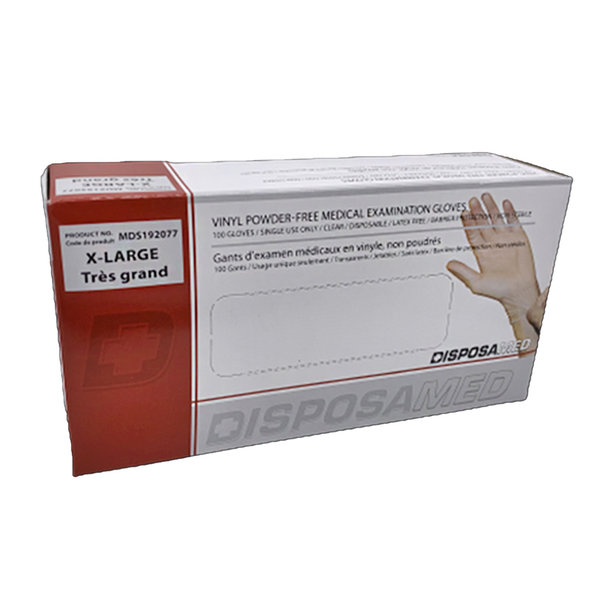 Accutouch Medline MDS192077 Accutouch Vinyl Powder Free Medical Exam Gloves, X-Large, 100/Box