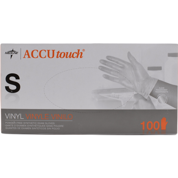 Accutouch Medline MDS192075 Accutouch Vinyl Powder-Free Synthetic Exam Gloves, Meduim, 100/box
