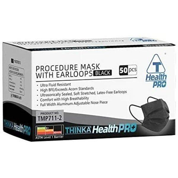 Thinka Thinka HealthPro TMP711-2 Procedure Mask with Latex-Free Earloops, Black, 50 Masks/Box