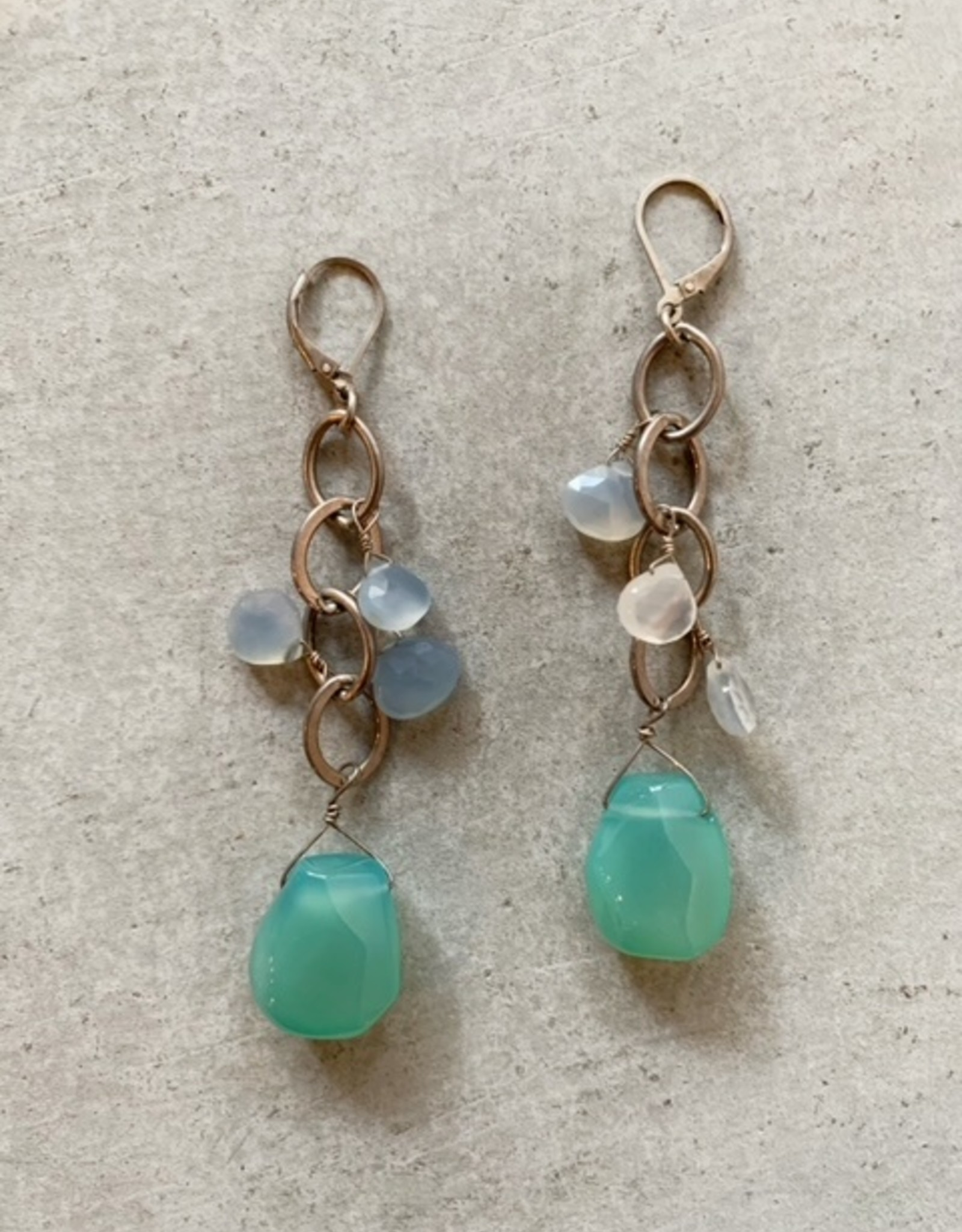Chalcedony and moonstone drops earrings