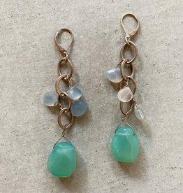 Chalcedony and moonstone drops earrings