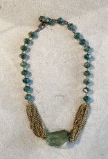 green glass bead and brass necklace