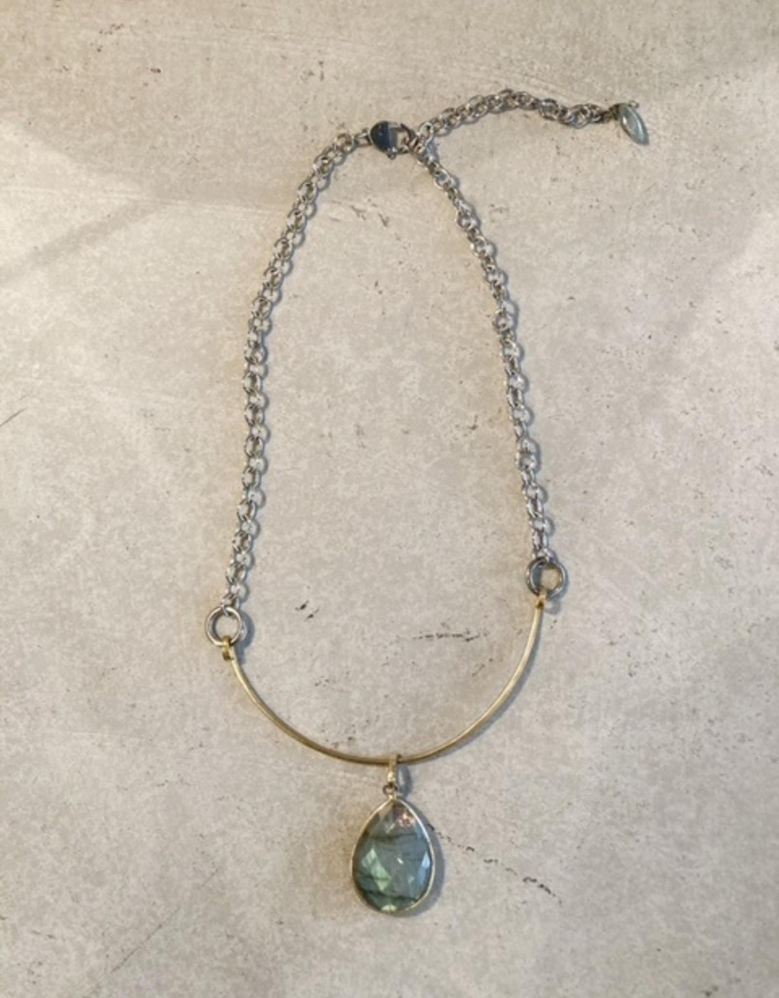 mixed metal labradorite necklace
