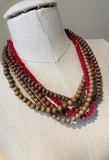 Wooden bead necklace multi red