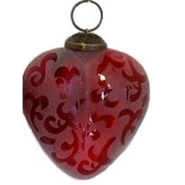 Glass Etched Heart Ornaments