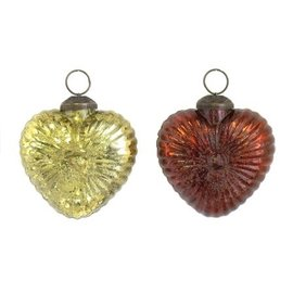 Flower Heart Glass Ornaments