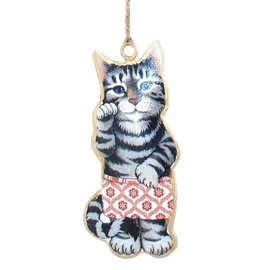 Cat in Shorts Metal Ornament