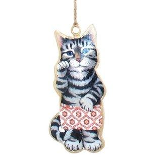Cat in Shorts Metal Ornament