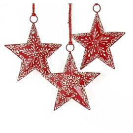 "4"" Red Painted Star Ornament"