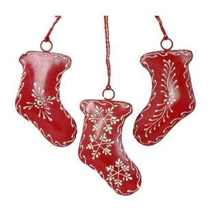 Red Painted Metal Stocking Ornament