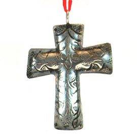 "3"" Silver Metal Engraved Cross Ornament"