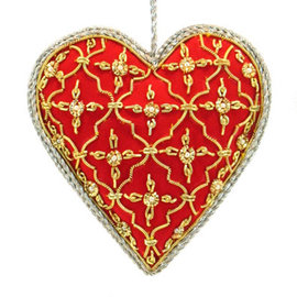 Embroidered Red Heart with Silver and Gold