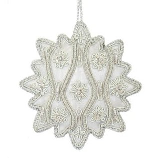 Embroidered Medallion Ornament - Silver