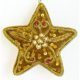 Embroidered Star Ornament - Gold/Gold