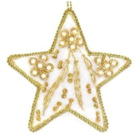 Embroidered Star Ornament - White/Gold