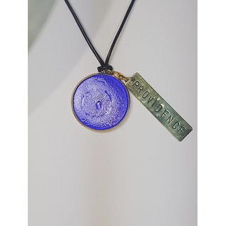 Recycled Glass Round Pendant with Charm - Providence