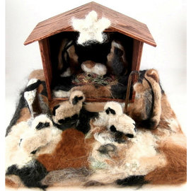 Alpaca Large Felted Nativity Scene