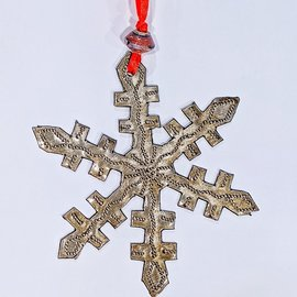 Hand Tooled Ornaments from Recycled Oil Drums - Snowflake - Made in Haiti