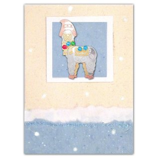 Whimsical Christmas Alpaca Pin with Card