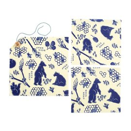 Bees Wrap Sustainable Storage Cloths - Lunch 3 Pack in Bees & Bears Print