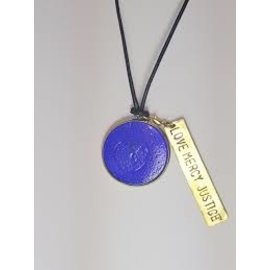 Recycled Glass Round Pendant with Charm - Love Mercy Justice