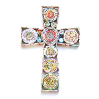 Recycled Magazine Cross - 10in. h x 7in. w