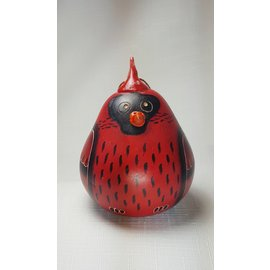 Cardinal Etched Handmade Gourd