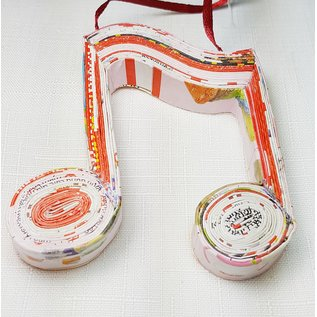 Music Note Ornament - Handmade from Magazines_x000D_