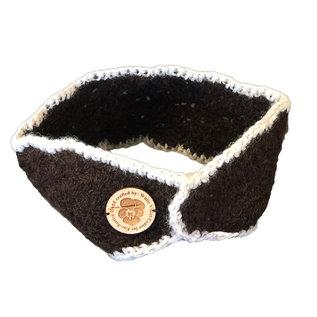 Hand Crocheted Alpaca Ear Warmer - Brown/Cream