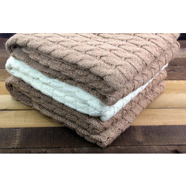 Big Cable Alpaca Blanket - Fawn