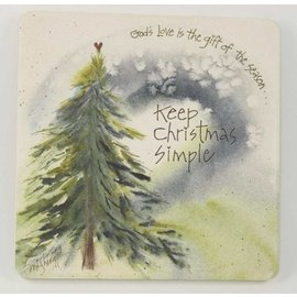 Coaster Stone Trivet - Keep Christmas Simple