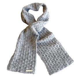 Hand Knitted Alpaca Scarf - Grey