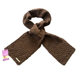 Hand Knitted Alpaca Scarf - Brown