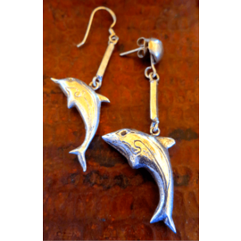 Playful Dolphin Earrings - Sterling Silver