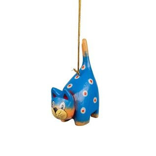 Spotted Blue Cat Handpainted Ornament