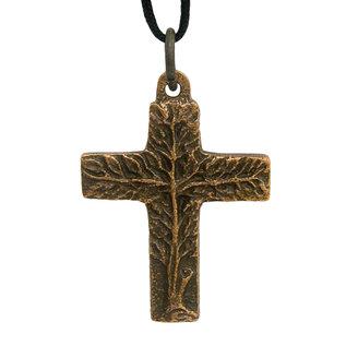 Bronze, Tree of Life Cross Pendant on Black Cord - 1.5x1.25 in.