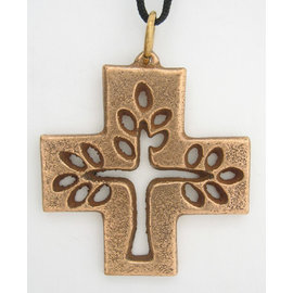 Bronze, Filagree Tree of Life Pendant on Black Cord - 1.6x1.6 in
