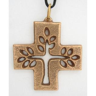 Bronze, Filagree Tree of Life Pendant on Black Cord - 1.6x1.6 in