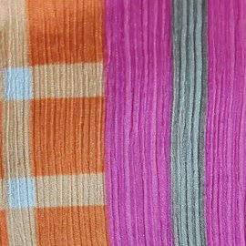 Recycled Sari Silk Scarf, Orange and Fuchsia