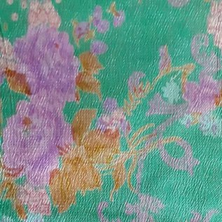 "Recycled Sari Silk Scarf, Green with Pink and Purple Flowers, 42"" square"