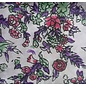 """Recycled Sari Silk Scarf, Purple with Green and Orange Floral Pattern, 42"""" square"""