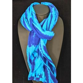Cotton Batik Blue Ripple Scarf
