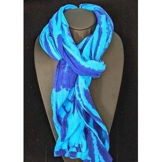 Cotton Batik Blue Ripple Scarf