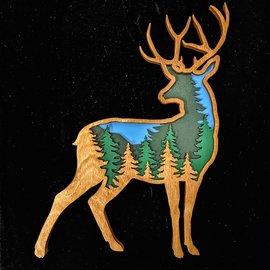 Layered Wooden Deer Scene