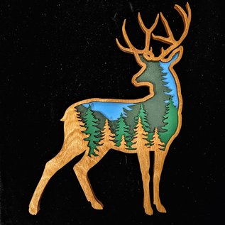 Layered Wooden Deer Scene