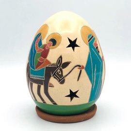 Nativity Luminary with Donkey - Ceramic Lantern