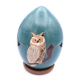 Great Horned Owl - Ceramic Lantern